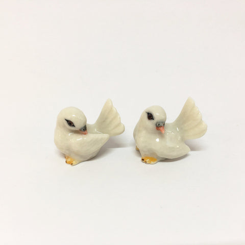Small Miniature Ceramic Doves