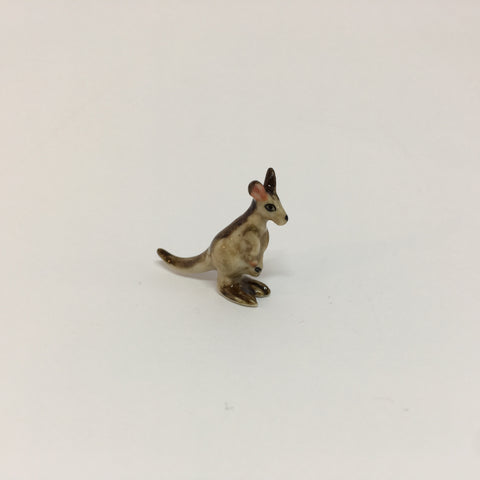 Tiny Miniature Ceramic Grey Kangaroo