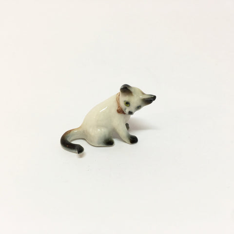 Small Miniature Ceramic Siamese Cat