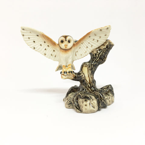 Miniature Ceramic Owl on a Tree