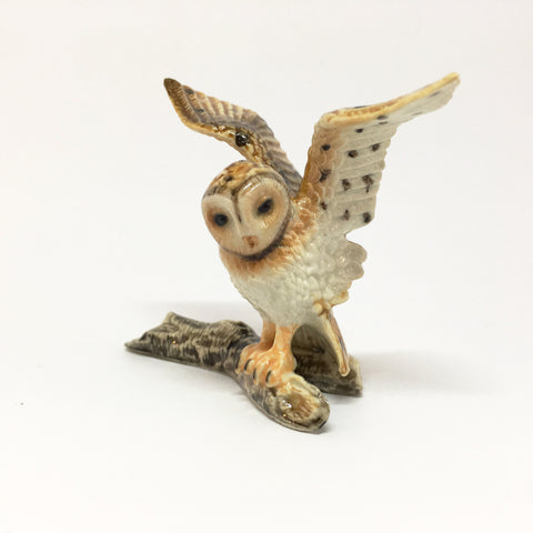 Miniature Ceramic Owl on Branch - Wings Outstretched
