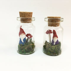 Tiny Gnome in Glass Bottle