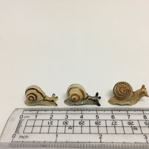 Tiny Miniature Ceramic Snails