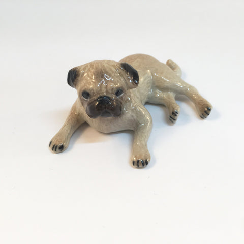 Miniature Ceramic Pug Dog Lying
