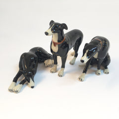 Miniature Ceramic Black Greyhound or Whippet Dog