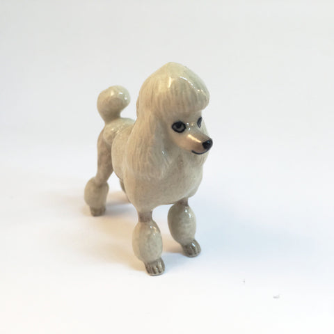 Miniature Ceramic Poodle - White & Brown