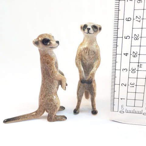 Miniature Ceramic Meerkhat Pair