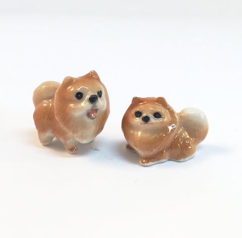 Small Miniature Ceramic Pomeranians