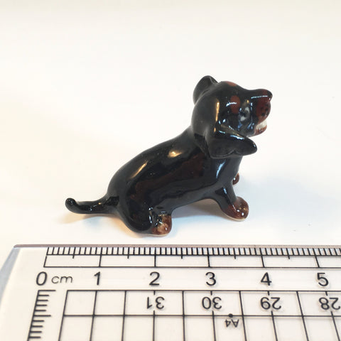 Small Miniature Ceramic Black Dachshund with Mouth Open