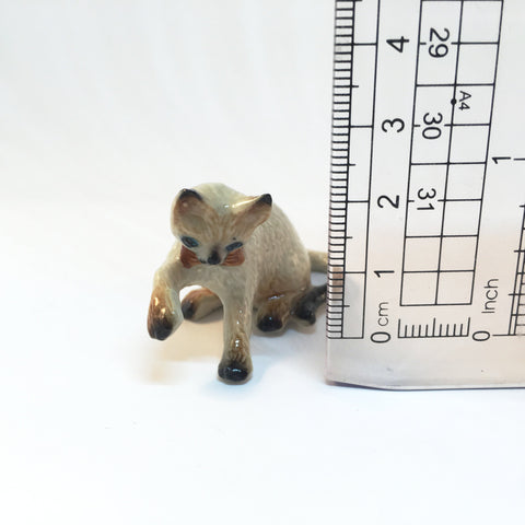 Small Miniature Ceramic Siamese Cat Playing