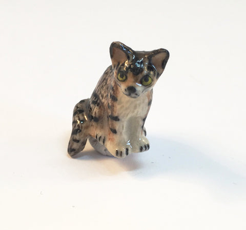 Small Miniature Ceramic Black and Brown Tabby Cat