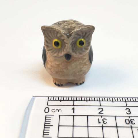 Small Miniature Ceramic Grey and Brown Owl