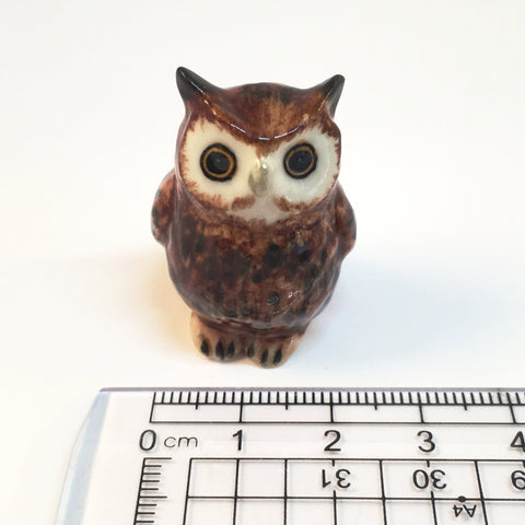 Small Miniature Ceramic Owl Mum and Babies