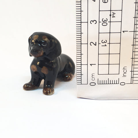 Small Miniature Ceramic Black Dachshund