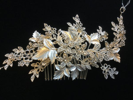 Gold Bridal Comb with Leaves and Crystal