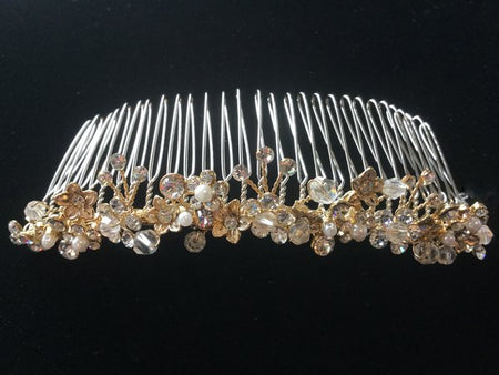 Light Gold Crystal and Pearl Bridal Comb
