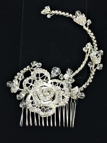 Bridal Comb with Center Rose Encrusted with Crystals
