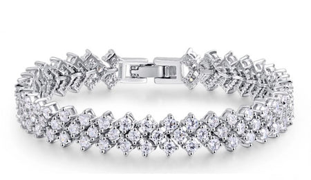 Wedding and Special Occasion AAA CZ 3-row Glittering Bracelet