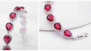 Pear Shape Zircon Pave Bracelets in Ruby and Clear for Wedding and Special Occasion