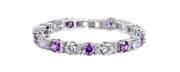Purple and Clear Zircon Bracelets for Bridal and Special Occasion