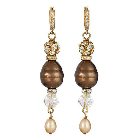 Brown Pearl with Swarovski and gf leverbacks with tiny cubic zirconia