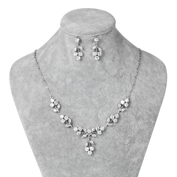 Lovely Bridesmaid Necklace and Earring CZ Set