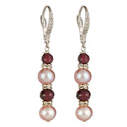 Mauve Pearl and Garnet Earring with Sterling Earring