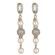 Classy and Elegant Bridal Sterling Silver Filigree and Swarovski Pearl Lever back Earring