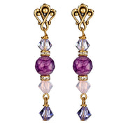 Purple and Lilac Agate and Swarovski Gold Post Earrings