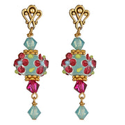 Pink and Aqua Lamp worked Glass Gold Post Earrings With Swarovski