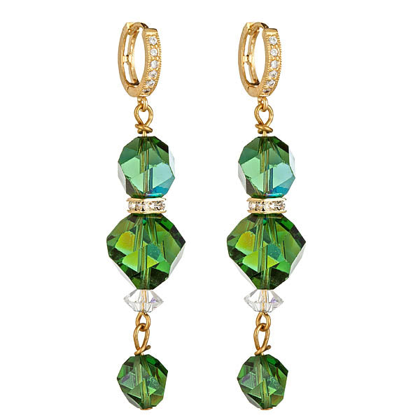 Rare Emerald Green Swarovski Gold Leverback Earrings
