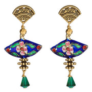 Blue fan Cloisonné Earring with Rare Swarovski