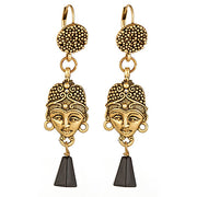 """Pharaoh"" Earrings with Gold Leverbacks and Dangling Black Onyx"
