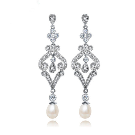 AAA CZ Micro Inlay Dangle Pearl Earring Vintage Look for Brides, Wedding and Special Occasions