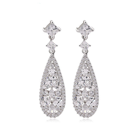 Sparkling CZ Dangle Earrings for Brides, Weddings and Special Occasions