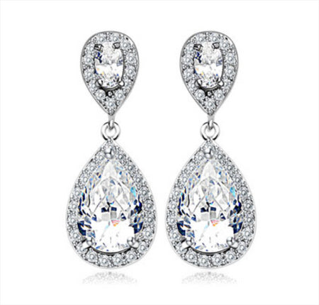 Tear Drop, Pear-Shaped AAA CZ Pave Earrings for Brides and Bridesmaids