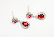 Ruby and AAA Pave Cubic Zirconia Earrings for Weddings and Bridesmaids