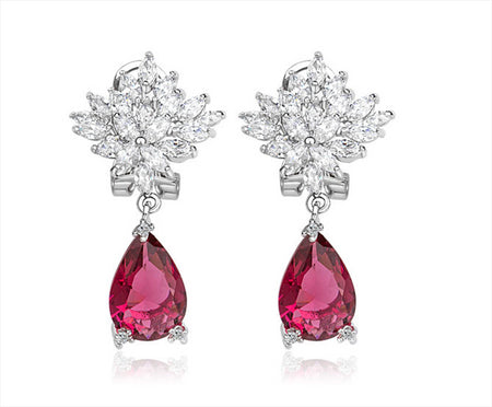 Ruby and CZ Pear-Shape Drop Earrings for Bridesmaids and Special Occasions