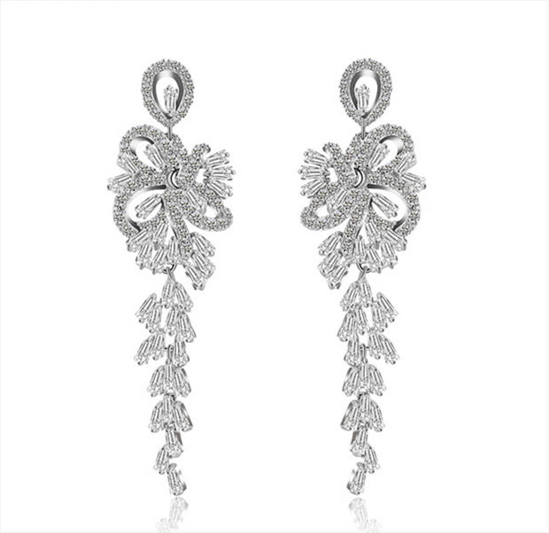 Unique, Dazzling AAA Cubic Zirconia Dangling Bridal and Wedding Earring