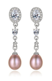 Sterling Silver, Mauve Cultured Pearl and Pave CZ Earrings for Wedding and Special Occasions