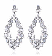 AAA CZ Earrings with Sparkling Baguettes  for Brides, Weddings, and Special Occasions with
