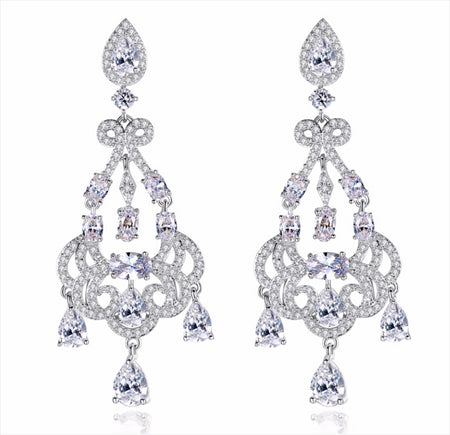 Shimmering AAA CZ Chandelier Earrings for Brides, Weddings and Special Occasions