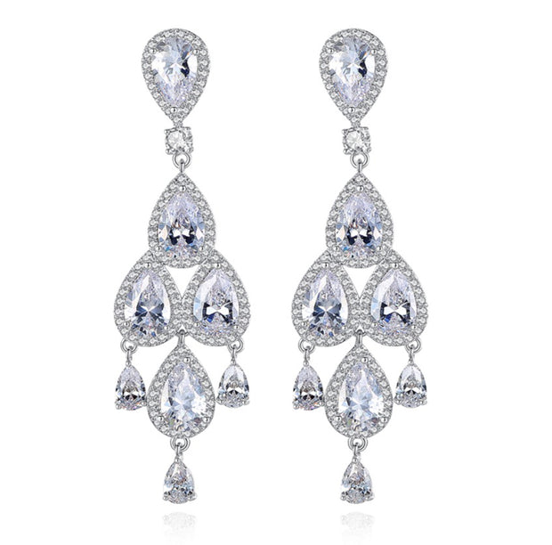 Glittering Pear-Shaped AAA CZ Chandelier Earrings for Brides and Special Occasions