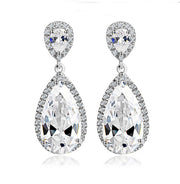 Tear Drop? Pear Shape AAA Glittering CZ Dangle Earrings for Brides, Weddings and Special Occasions