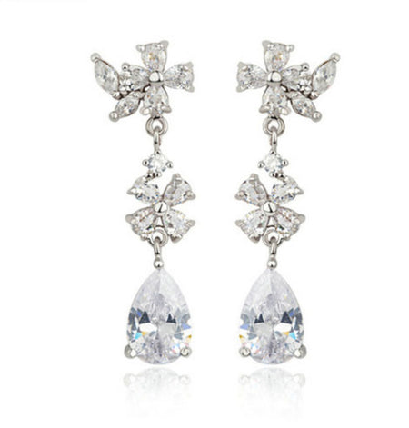 AAA CZ Flower Dangle Earrings with Pear-Shape Drop for Brides, Weddings and Special Occasions