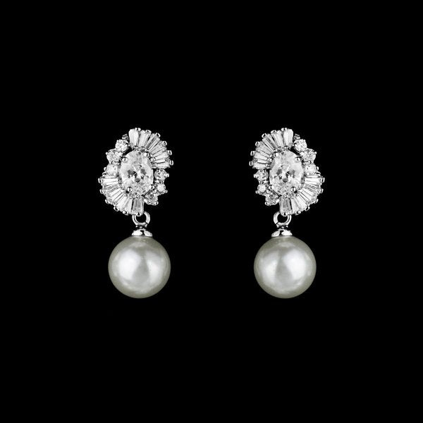 Lovely Pearl Drop Wedding Earring with Shimmering CZ