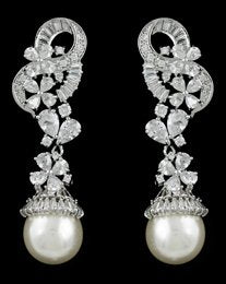 Pearl and Cubic zirconia Dangling Wedding Earring