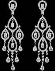 Pave CZ Chandelier Tear Drop Bridal Earrings