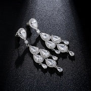 Glamorous AAA Zirconia Special Occasion Chandelier Earrings for Brides and Weddings