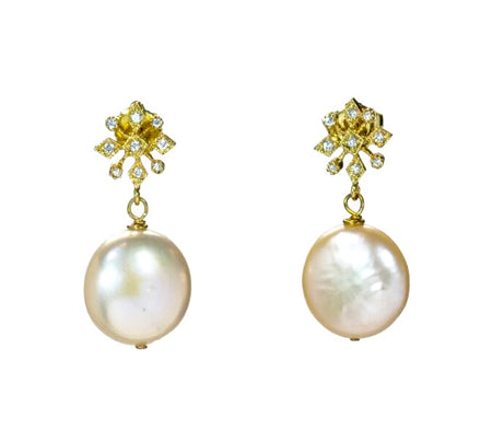 Cultured Coin Pearl with Gold and CZ Post for Wedding or Special Occasion